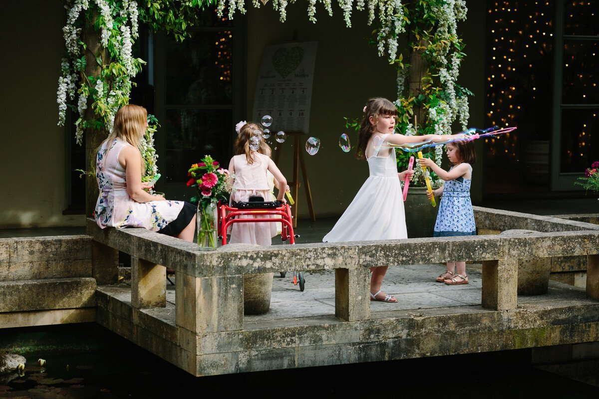 Kids play in Japanese garden at Matara centre Wedding