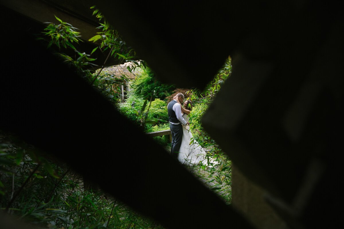 Romantic photo of bride and groom in Japanese gardens