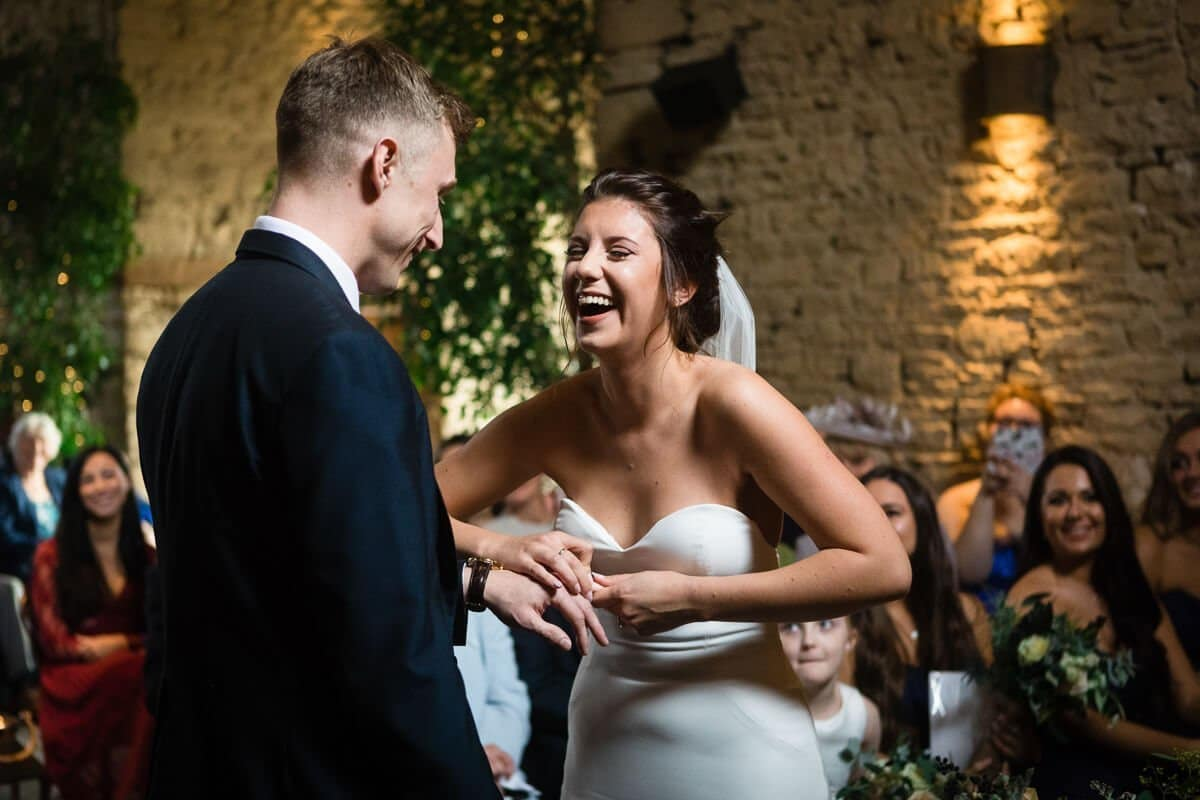 Bride gets ring stuck on finger at Cotswold Wedding , Cripps Barn