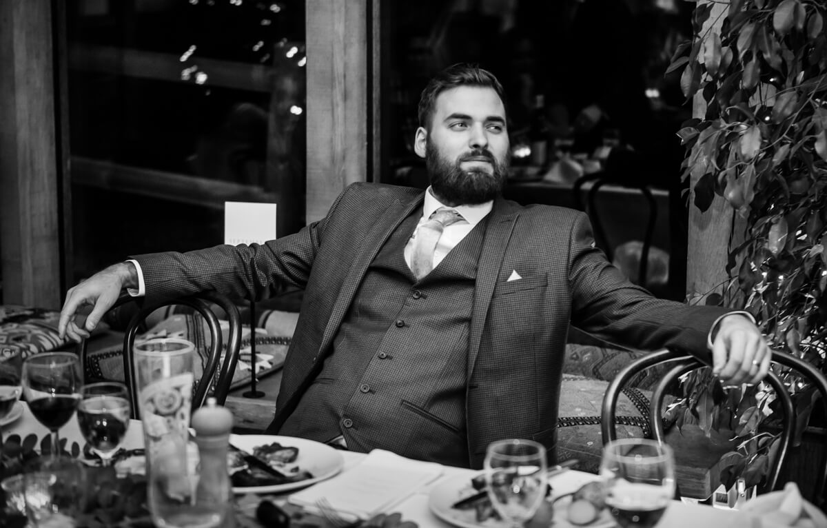 Wedding guest relaxing at dinner