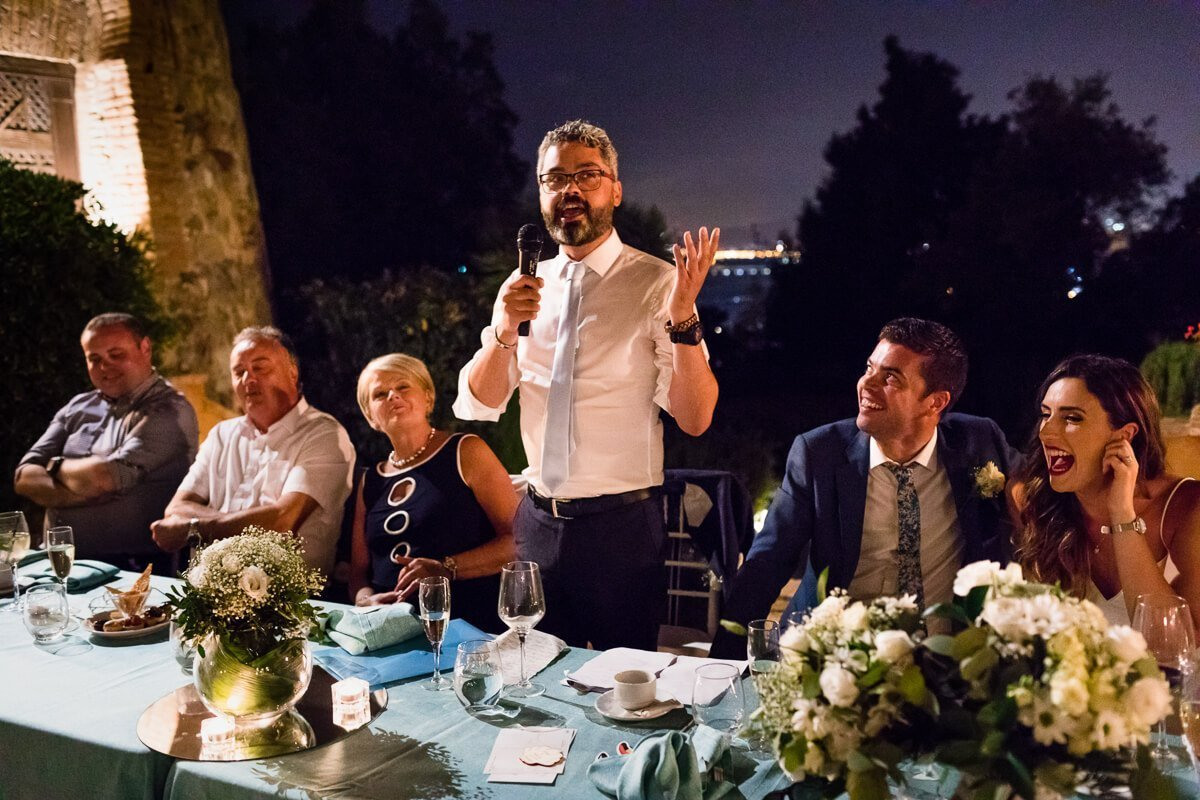 Best man making speech at Andalusian Wedding