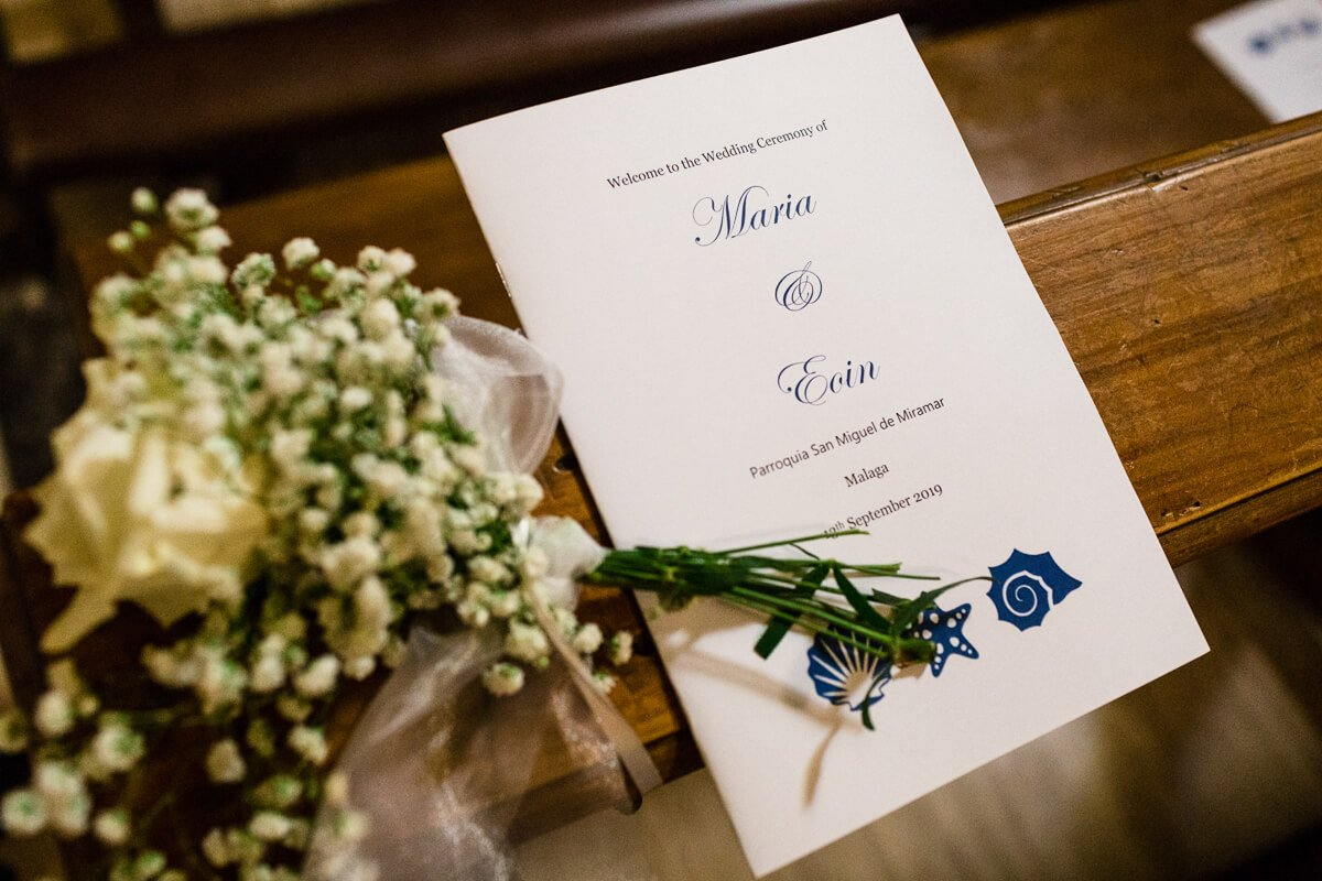 Order of service for malaga wedding