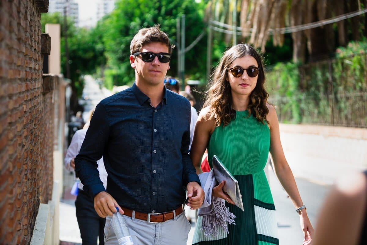 Wedding guests wearing sunglasses in Spain